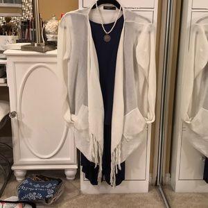White fringe cardigan